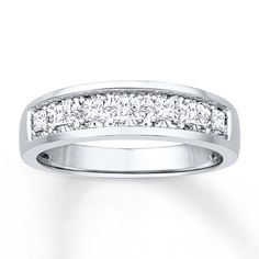 Fine Jewelry LIMITED QUANTITIES! Mens Diamond Accent 2-Row Wedding Band in 10K White Gold 0jdO6R8MX7