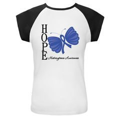 Hope Butterfly Histiocytosis White and Black Cap Sleeve | Cancer Shirts | Disease Apparel | Awareness Ribbon Colors