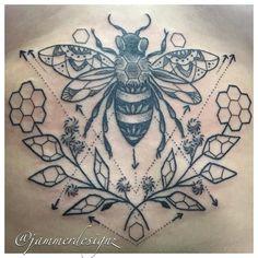 Geometric Bee Sternum Tattoo - Jammer Designz   jammerdesignz.com