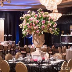 Glamorous black, #pink, and gold #wedding with awe-inspiring #floral designs by #ixiaflowersbycliff #wedluxe