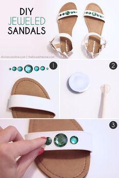 DIY Embellished Sandals