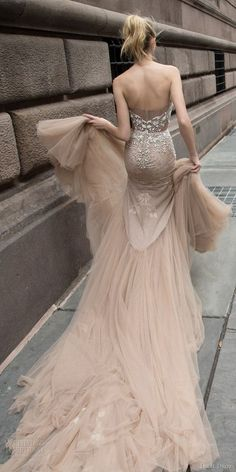 inbal dror 2016 wedding dress with strapless sweetheart fit flare mermaid wedding dress taupe color train style 05 bkv / http://www.deerpearlflowers.com/inbal-dror-fall-wedding-dresses-2016-new-york-colletion/