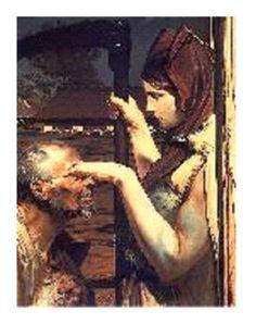 """Wiersz """"Wywiad"""" Białoszewskiego stanowi wyraźne nawiązanie do średniowiecznej """"Rozmowy Mistrza Polikarpa ze Śmiercią"""".  W roli mistrza Polikarpa występuje mistrz Miron, postać wyraźnie wskazująca na samego autora. Śmierć z kolei podszywa się pod dziennikarkę, która chce porozmawiać ze znanym poetą i w tym celu składa mu wizytę. Niespodziewanie okazuje się jednak, że niewinne zjawienie się """"Pani gość"""" przeradza w konieczność stawienia czoła wieczności. Art Database, Steampunk, Death, Fantasy, History, Artwork, Artist, Painting, Polish"""