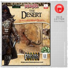 The Desert - Modular Terrain Tiles 05 is a paper-printable set, ideal for Fantasy settings, which includes a lot of modular tiles divided into squares of 2,5x2,5cm – 1x1'' suitable to recreate a desert landscape, where sand and crumbling rocks made red-hot from the scorching rays of the sun.