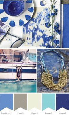 A great bold nautical look. Soft greens and blues always look great in a beach home but I like the bold blue as accents as well. #capecodbeachhouses #capecod #beachcolors http://www.capecodrelo.com mood board