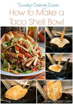 How to Make a Taco Shell Bowl   www.afamilyfeast.com    #Mexican #CincodeMayo   It's easy to make a taco shell bowl at home - just like you'd see at a restaurant! Great for Taco Salads.