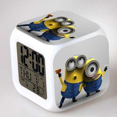 Christmas Gift Night Glow LED Alarm Electric Clock Cute Cartoon Character Minion Despicable Me Digital Toy Girl Children Kid