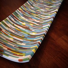 "Detail of a 7""x24"" Fused Glass Dish By Emily L.U. Cook of eluCook Designs www.elucook.com and www.facebook.com/elucookdesigns"