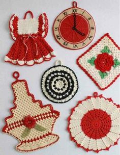 """Edited By: Maggie Weldon Skill Level: Intermediate Sizes: Granny Basket - About 7½"""" wide and 9"""" long Circular Fan - About 7"""" diameter Clock - About 5"""" diameter Granny Rose - About 5"""" square Black & Wh"""