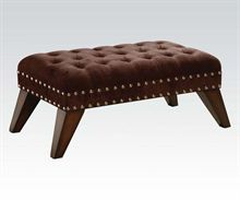 A vintage-modern style chocolate microfiber bench with button tufting and nailhead trim. Style # at Lamps Plus. Tufted Bench, Ottoman Bench, Dark Brown Furniture, Entry Way Design, Vanity Stool, Tufting Buttons, Hardwood, Upholstery, Chair