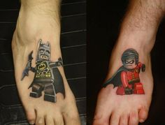 Lego Batman and Robin ready to get the bad guys. | 32 Lego Tattoos That Will Thrill Your Inner Child