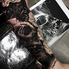 Hyper-realistic Skull Tattoos by Drew Apicture (2)