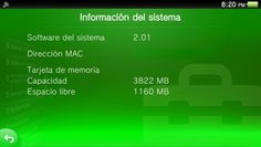 Ps Vita Actualización del software del sistema 2.01