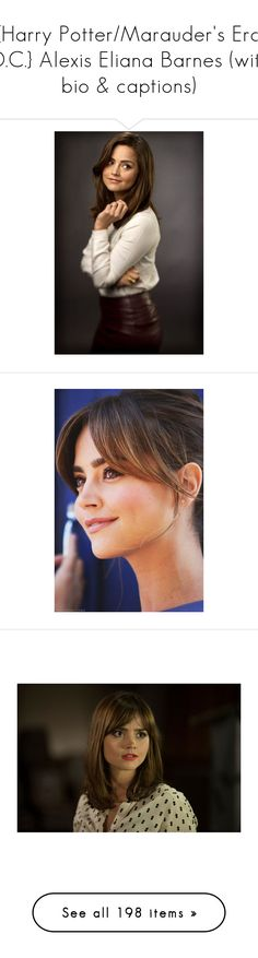 """{Harry Potter/Marauder's Era O.C.} Alexis Eliana Barnes (with bio & captions)"" by katlayden ❤ liked on Polyvore featuring doctor who, jenna, tops, white top, shirt top, tie shirt, burgundy top, white shirt, jenna coleman and people"