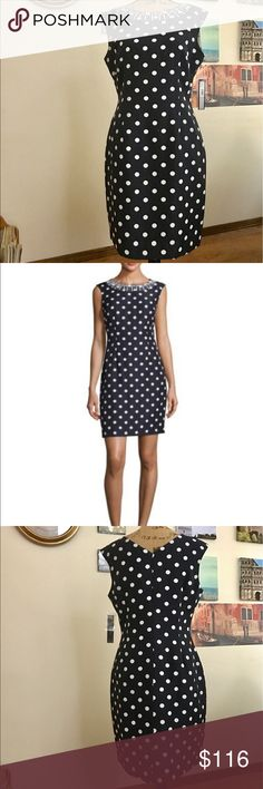 """Tahari ASL bead embellished sheath dress, size 10 This darling navy and white polka dot sheath will take your Independence Day game to a whole new level!!  Wear in the Hamptons to your best friend's crab feed!  Features:   Bateau neckline; V'd back. Sleeveless. Sheath silhouette. Straight hem. Back zip. Polyester; dry clean.   Measures 18"""" pit to pit flat laid, waist measures 16"""" across the front flat laid and is 36"""" in length.  063111110617 Tahari Dresses"""