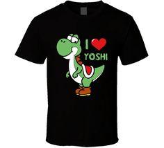 China Style Fashion Rock I Love Yoshi Super Mario Bros T Shirt Cartoon tee shirt homme high quality top tees #Affiliate