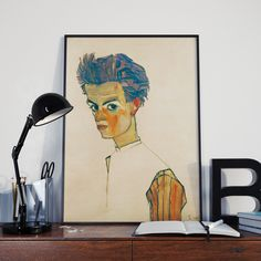 Egon Schiele Self Portrait With Striped Shirt Egon Schiele Art Egon Schiele Painting Expressionist Painting Egon Schiele Prints Egon Poster by WallBuddy on Etsy Printing Ink, Color Depth, Unique Wall Art, Free Prints, All Print, Vintage Posters, Poster Prints, Colours, Stuff To Buy