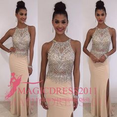Chic Champagne Prom Dresses Backless Formal Evening Gowns 2016 Special Occasion Dress Mermaid Sheer Neck Crystal Split Party Custom Made Online with $131.0/Piece on Magicdress2011's Store | DHgate.com