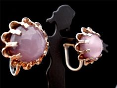 Purple Moonglow Glass Cabochon Gold Over Sterling Screwback Earrings Vintage | eBay