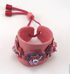 """Браслеты ручной работы. Ярмарка Мастеров - ручная работа. Купить Браслет из кожи """"Бохо"""". Handmade. Розовый, подарок девушке"""