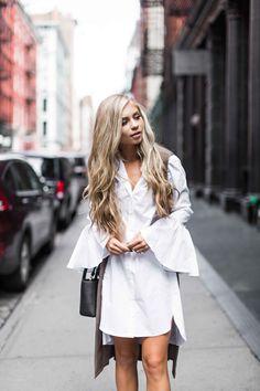jessakae street style, womens fashion, bell sleeves, white dress, blonde hair, wavy hair