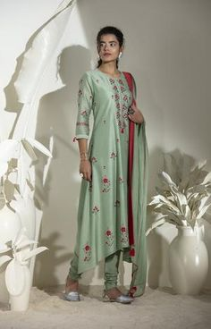 Light Green Embroidered Anarkali in Chanderi Dark Green Shirt, Ombre Shirt, Fancy Gowns, Screen Printing Shirts, Striped Jacket, Embroidered Tunic, Indian Outfits, Indian Clothes, How To Look Classy