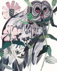 Grey Owl and Zinnias - Archival Print