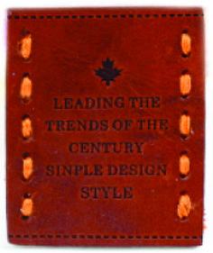 etiqueta de cintura para jeans grabada con costura.