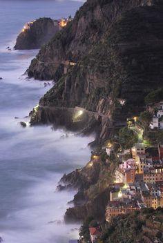 Riomaggiore at night, Cinque Terre, Liguria, Italy, province of La Spezia
