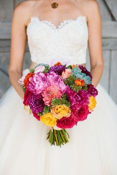 Bright spring wedding bouquet / http://www.himisspuff.com/colorful-mexican-festive-wedding-ideas/2/