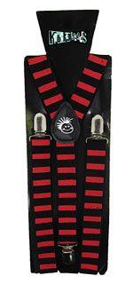 Knuckleheads Red and Black Striped Suspenders Ninja Outfit, Ninja Party, Preppy Look, Taekwondo, Power Rangers, Suspenders, Black Stripes, Tee Shirt, Color Pop