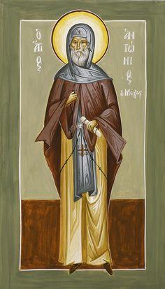 St Anthony by Julia Bridget Hayes Byzantine Icons, Byzantine Art, Anthony The Great, Saint Antony, Pope Leo, Roman Church, Russian Icons, Orthodox Icons, St Joseph