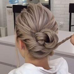 50 classy braided updo styles for wedding! Curly Hair Updo, Curly Hair Styles, Hair Upstyles, Updo Tutorial, Updo Styles, Hair Videos, Bridesmaid Hair, Hair Hacks, Hair Lengths