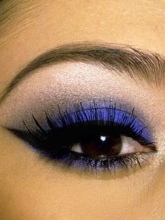 Blue winged eye makeup. Sephora and Urban Decay have great thick colorful pencils that do this well and then finish w liquid liner or my fav liner...perversion 24/7 liner by UD.
