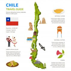 Chile infographics flat layout with border map and travel guide page text elements and symbols illustration Cheap Places To Travel, Rest And Relaxation, Map Vector, South America Travel, Vector Photo, Layout, Romantic Getaway, Floral Wedding Invitations, European Tour