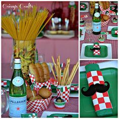 Crissy's Crafts: Girl Scouts Italian Night – Simple Meals Badge Italian Table Decorations, Dinner Party Decorations, Dinner Themes, Pasta Bar, Italy Party Theme, Italian Themed Parties, Italian Party Themes, Italian Snacks, Italian Foods