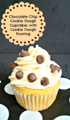Chocolate Chip Cookie Dough Cupcakes with Cookie Dough Frosting SmartCookies AD Cookie Dough Cupcakes, Cookie Dough Frosting, Chocolate Chip Cookie Dough, Yummy Treats, Delicious Desserts, Sweet Treats, Yummy Food, Tasty, Cupcake Recipes