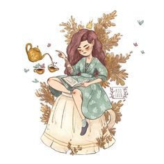 The illustration is an example of a portrait, also it sales as a print Princess Illustration, Tea Illustration, Digital Illustration, Guache, Tea Art, Cartoon Art, Cute Drawings, Art Sketches, Art Reference