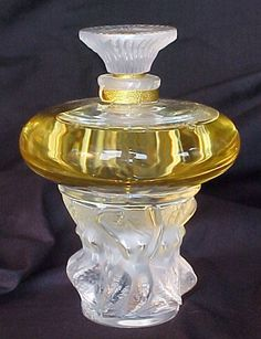 French Art Deco Lalique Crystal Perfume Bottle w/ NUDES