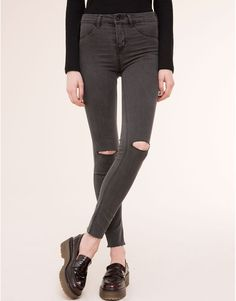 Pull&Bear - woman - jeans - basic mid-rise jeggings - grey - 09684335-I2015