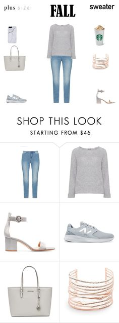 """""""Plus Size Fall outfit"""" by jessicasanderstx ❤ liked on Polyvore featuring JunaRose, Samoon, Gianvito Rossi, New Balance, MICHAEL Michael Kors and Alexis Bittar"""