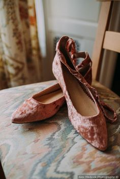 Pink crushed velvet point toe ballet flat with lace up strap | wedding shoes {Alex Medvick Photography}