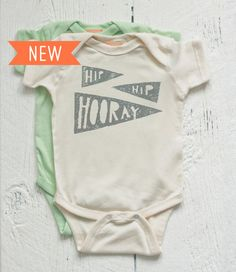 Organic Baby Onesie Hip Hip Hooray Newborn 6M by twiddleANDtweet, $28.00