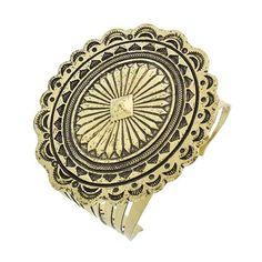 "Gold Tone Bracelet Burnished Gold Tone / Lead Compliant / Metal / Cuff / Bracelet •   SIZE FREE : CUFF •   DIAMETER : 2 1/2"" •   TOP FACE : 3"" X 2 5/8""  •   B.GOLD R.E.A.L Jewelry Jewelry Bracelets"