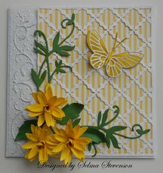 Yellow flowers and butterfly.  http://selmasstampingcorner.blogspot.com/2012/02/flowers-and-butterfly.html