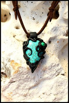 Polymer Clay Pendant Stone Necklace by PeaceElements on Etsy, €15.00