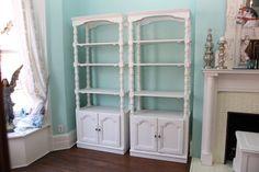 wall unit shelf pair shabby chic white by VintageChicFurniture