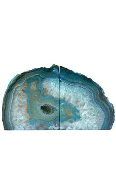 Crystal Allies Gallery: Pair of Small 1lb - 3lbs Polished Agate Geode Halves Decorative Bookends w/ Authentic Crystal Allies Stone Card (Teal) Best Price
