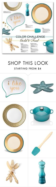 """Gold & Teal Kitchen Accessories"" by kellylynne68 ❤ liked on Polyvore featuring interior, interiors, interior design, home, home decor, interior decorating, Rosanna, Frontgate, L'Objet and Le Creuset"