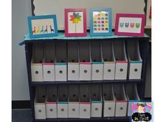 Book boxes from Ikea (5 for $2) decorated with duct tape! I had my students  decorate them at home and most of them brought in the duct tape they u